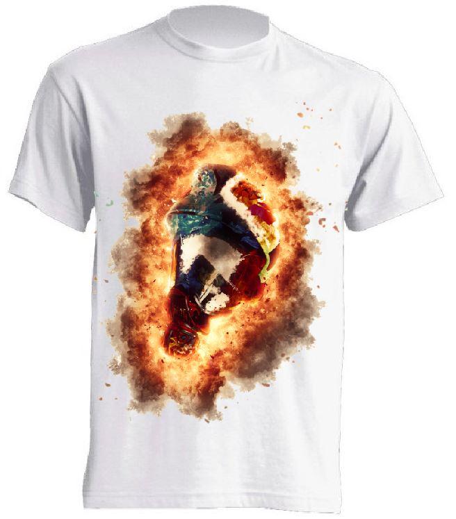 Koszulka poliestrowa hełm strażacki w płomieniach