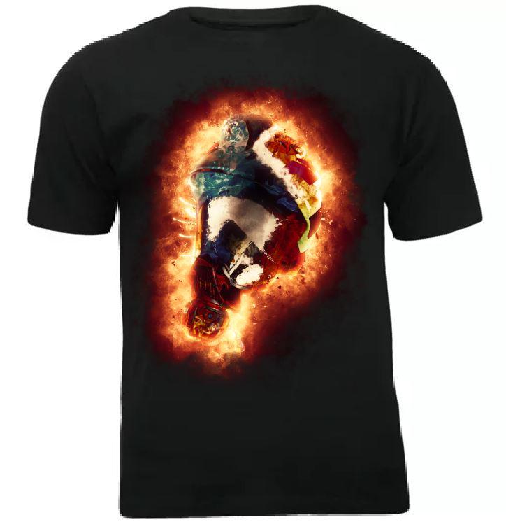 Koszulka t-shirt hełm strażacki w płomieniach